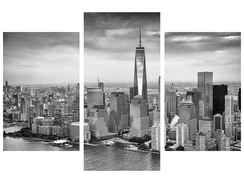 Aluminiumbild 3-teilig modern Skyline Schwarzweissfotografie New York