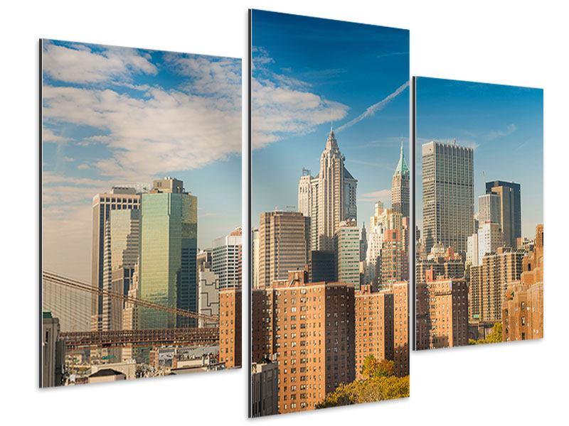 Aluminiumbild 3-teilig modern Skyline New York