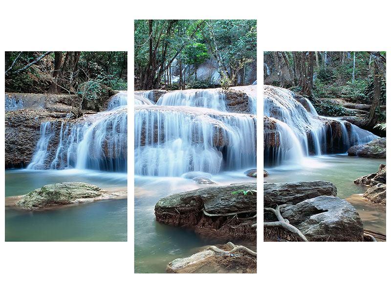 Aluminiumbild 3-teilig modern Ein Wasserfall