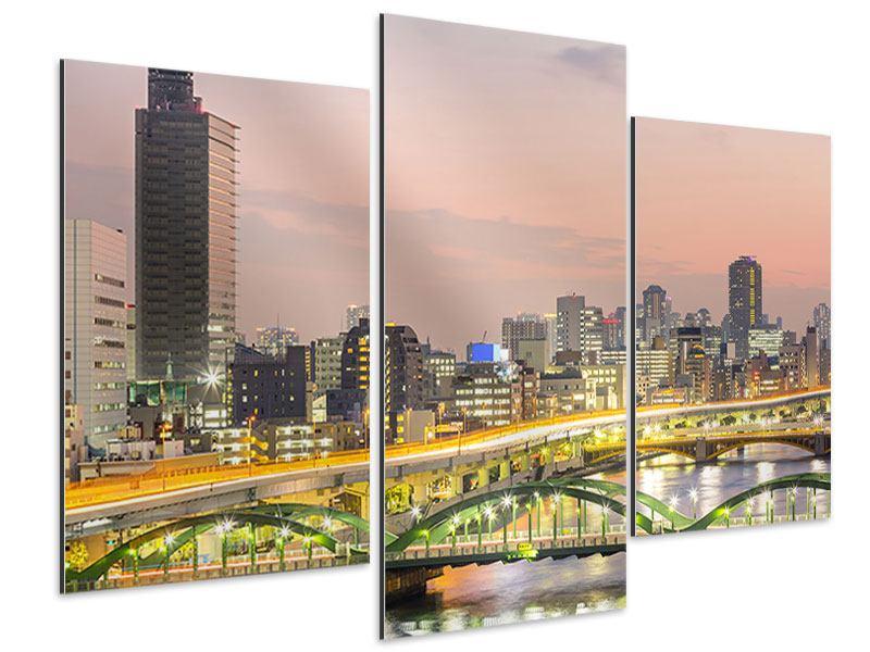Aluminiumbild 3-teilig modern Skyline Das Lichtermeer von Tokio