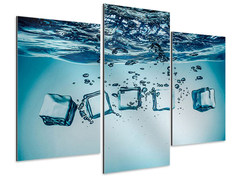 Aluminiumbild 3-teilig modern Eiswürfel-Quadro