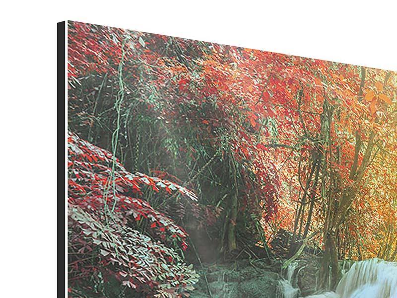 Aluminiumbild 3-teilig modern Wasserfall im Licht