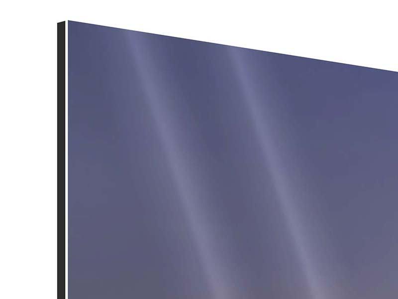 Aluminiumbild 3-teilig modern Skyline Mit dem Boot vor Sydney