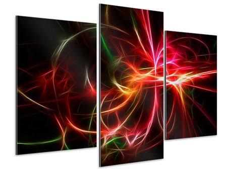Aluminiumbild 3-teilig modern Fraktales Lichtspektakel