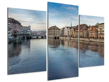 Aluminiumbild 3-teilig modern Kosmopolitisches Zürich