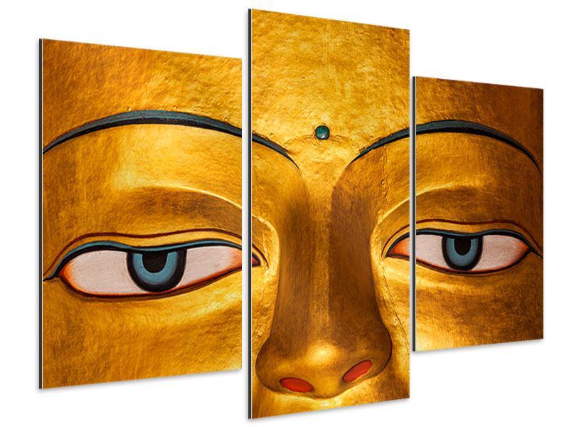 Aluminiumbild 3-teilig modern Die Augen eines Buddhas