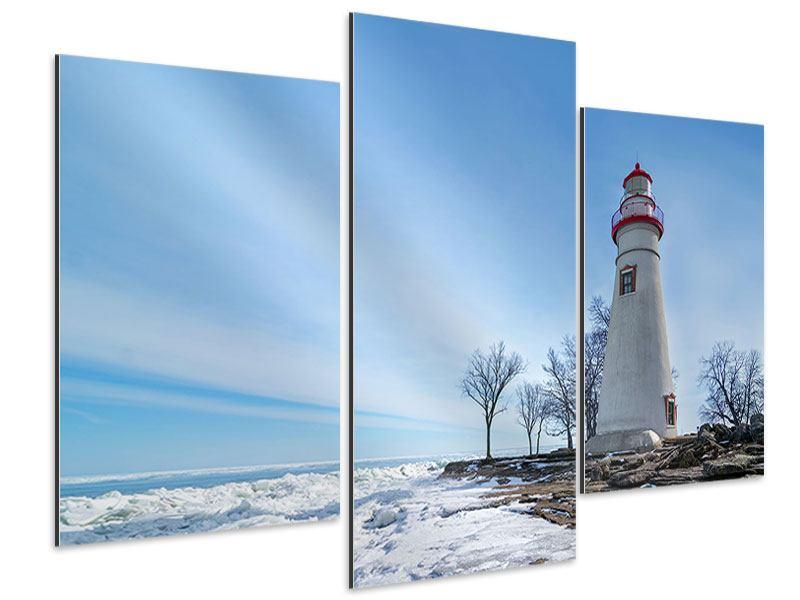 Aluminiumbild 3-teilig modern Leuchtturm im Schnee