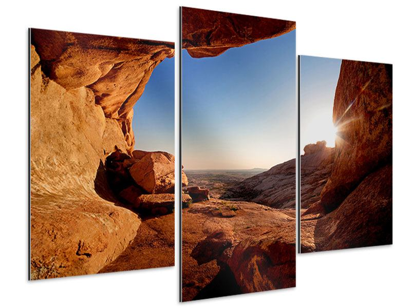 Aluminiumbild 3-teilig modern Sonnenuntergang vor der Höhle