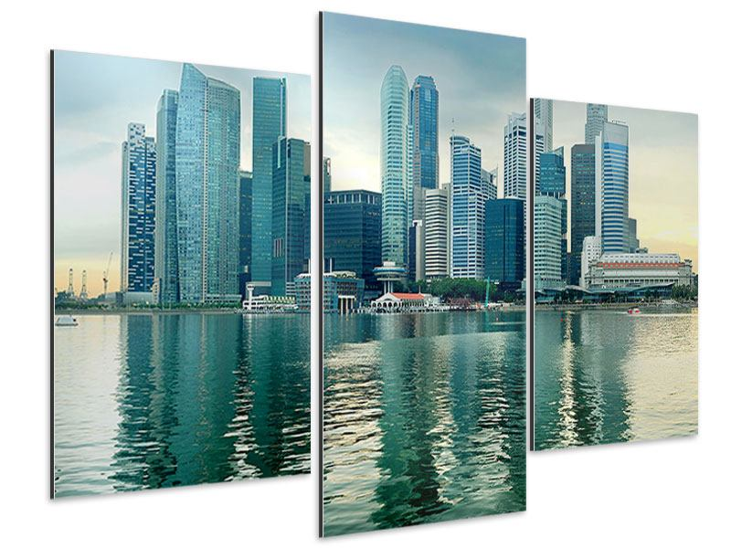 Aluminiumbild 3-teilig modern Skyline Sonnenaufgang in Singapur