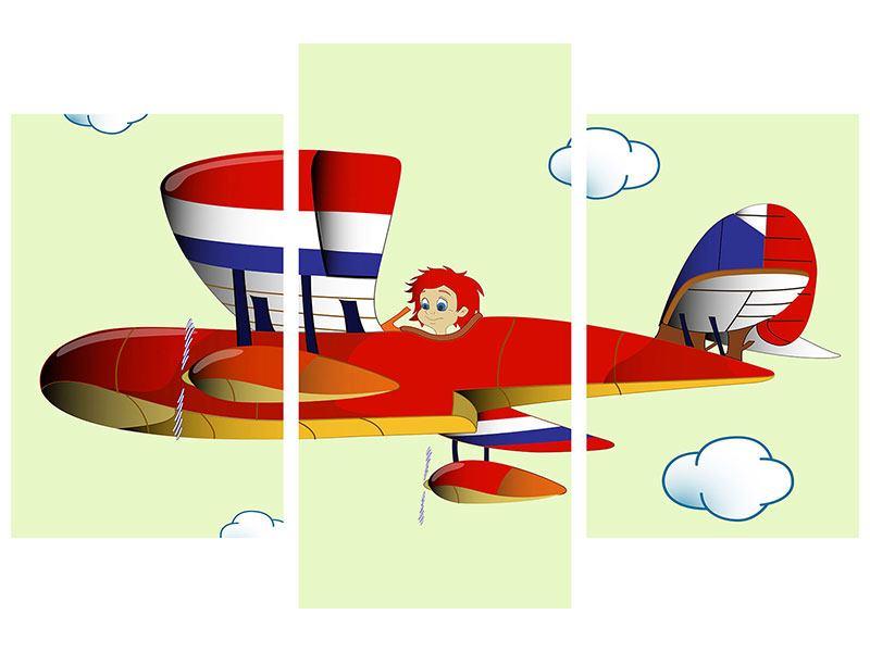 Aluminiumbild 3-teilig modern Der fliegende Junge