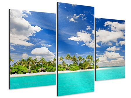 Aluminiumbild 3-teilig modern Meine Insel