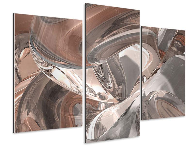 Aluminiumbild 3-teilig modern Abstraktes Glasfliessen