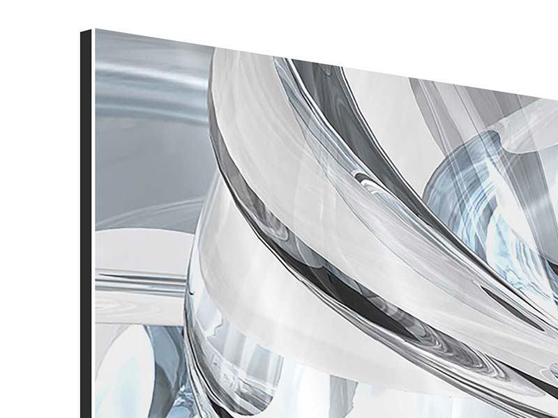 Aluminiumbild 3-teilig modern Abstrakte Glasbahnen