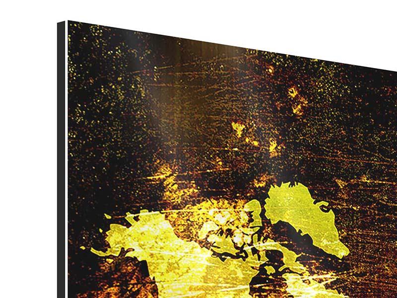 Aluminiumbild 3-teilig modern Retro-Weltkarte