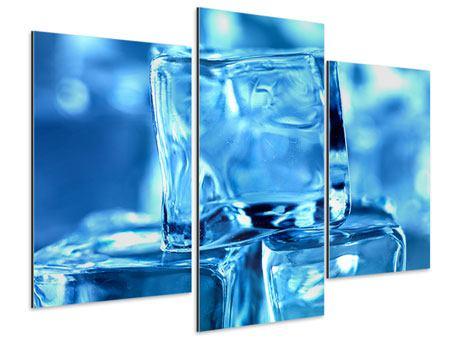 Aluminiumbild 3-teilig modern Eiswürfel XXL