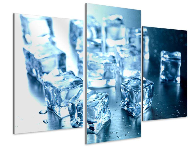 Aluminiumbild 3-teilig modern Viele Eiswürfel