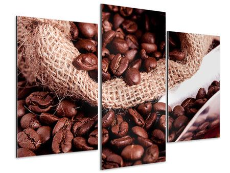 Aluminiumbild 3-teilig modern XXL Kaffeebohnen