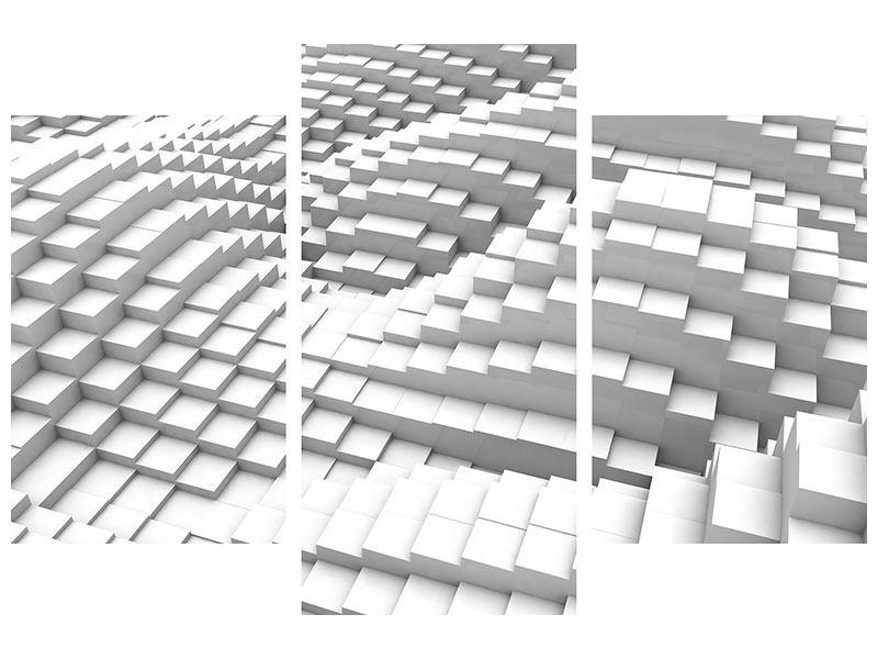 Aluminiumbild 3-teilig modern 3D-Elemente
