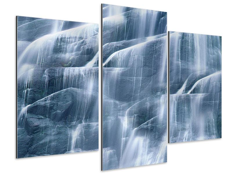 Aluminiumbild 3-teilig modern Grossartiger Wasserfall
