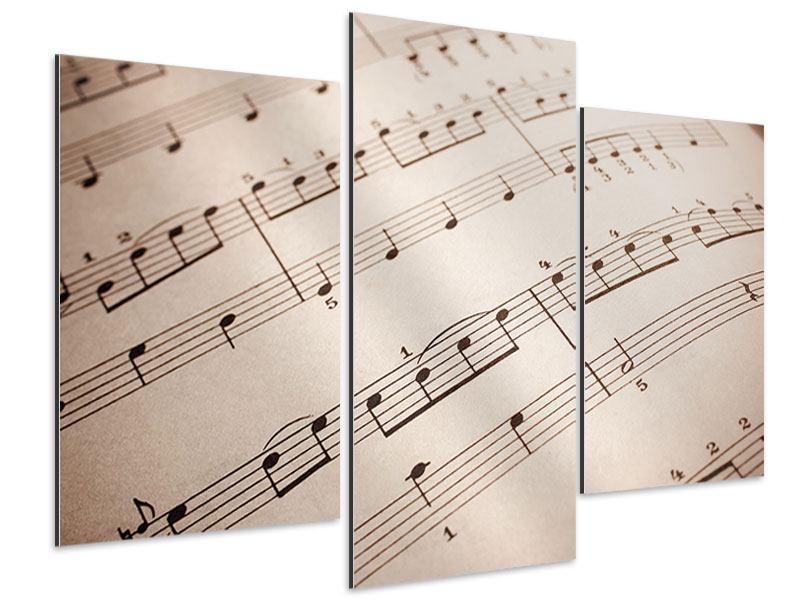 Aluminiumbild 3-teilig modern Das Notenblatt