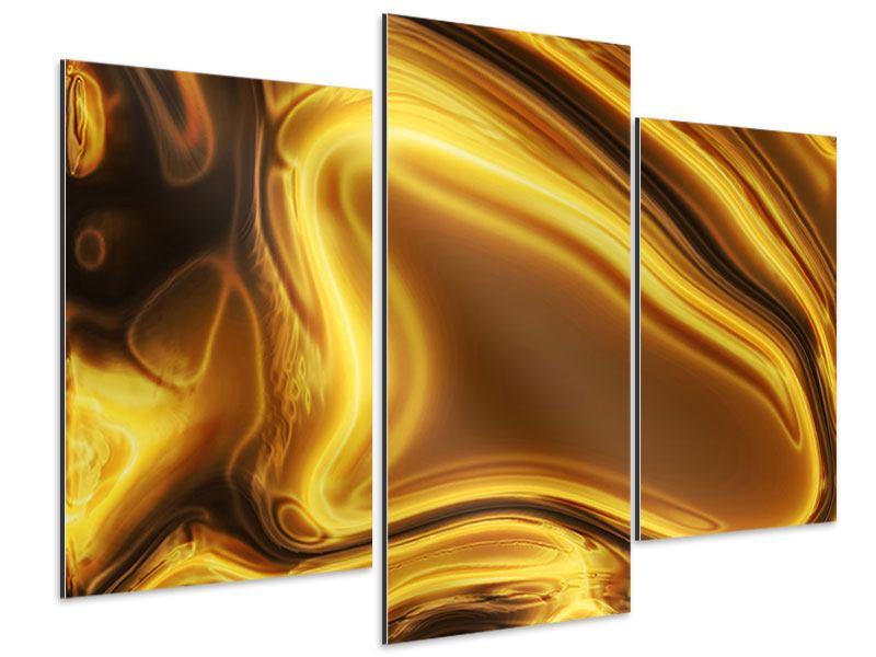 Aluminiumbild 3-teilig modern Abstrakt Flüssiges Gold