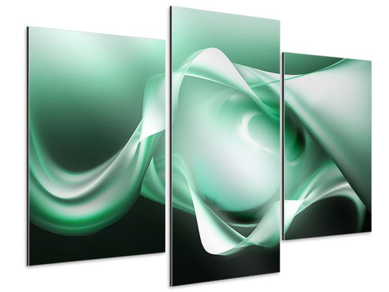 Aluminiumbild 3-teilig modern Abstrakt Tuchfühlung
