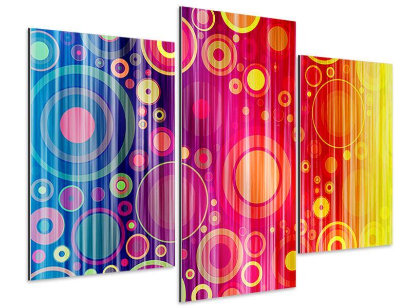 Aluminiumbild 3-teilig modern Grunge-Retrokreise