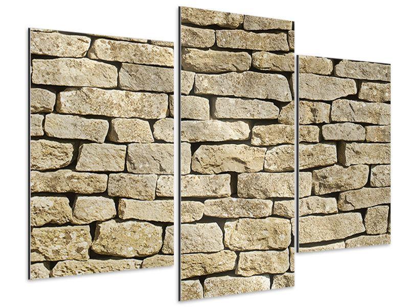 Aluminiumbild 3-teilig modern Alte Mauer