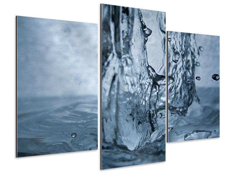 Aluminiumbild 3-teilig modern Wasserdynamik