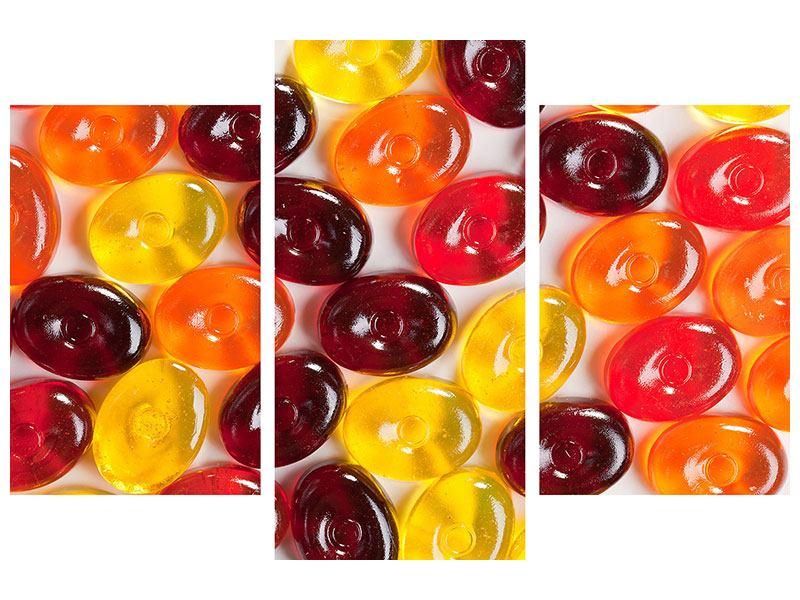 Aluminiumbild 3-teilig modern Bonbons