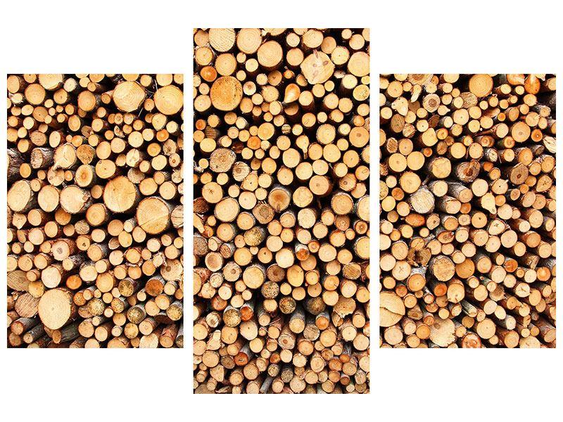 Aluminiumbild 3-teilig modern Holzstämme