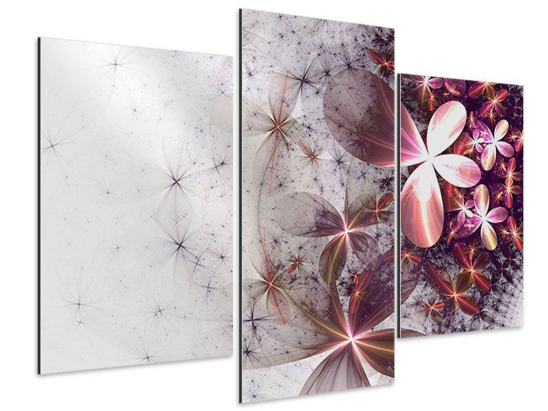 Aluminiumbild 3-teilig modern Abstrakte Blumen