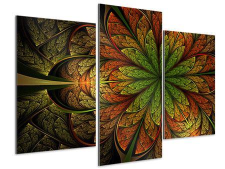 Aluminiumbild 3-teilig modern Abstraktes Blumenmuster
