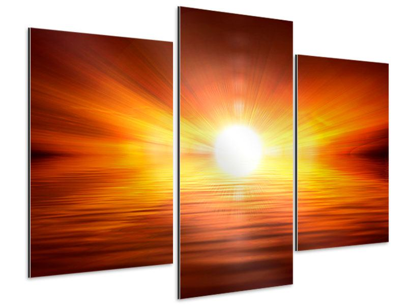 Aluminiumbild 3-teilig modern Glühender Sonnenuntergang