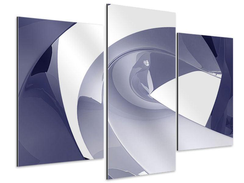 Aluminiumbild 3-teilig modern Abstrakte Schwingungen