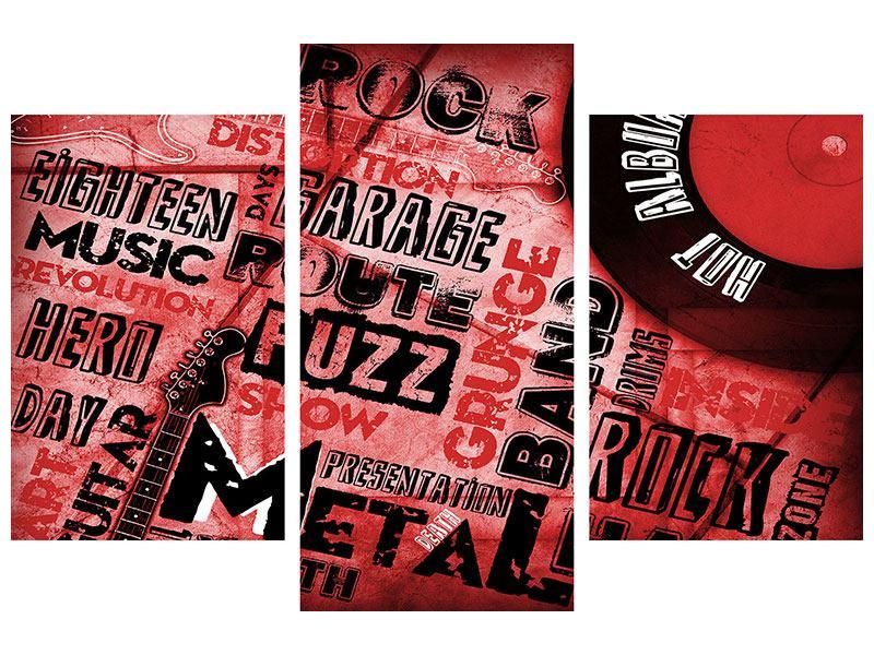 Aluminiumbild 3-teilig modern Writings Music Grunge