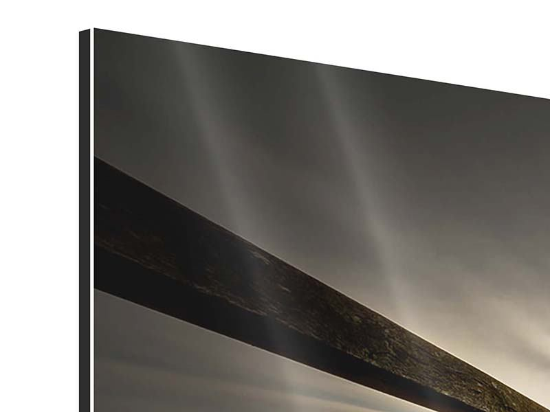 Aluminiumbild 3-teilig modern Die Holzbrücke