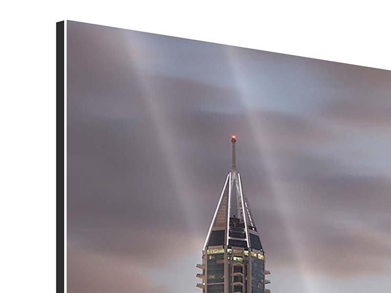 Aluminiumbild 3-teilig modern Skyline Dubai bei Sonnenuntergang