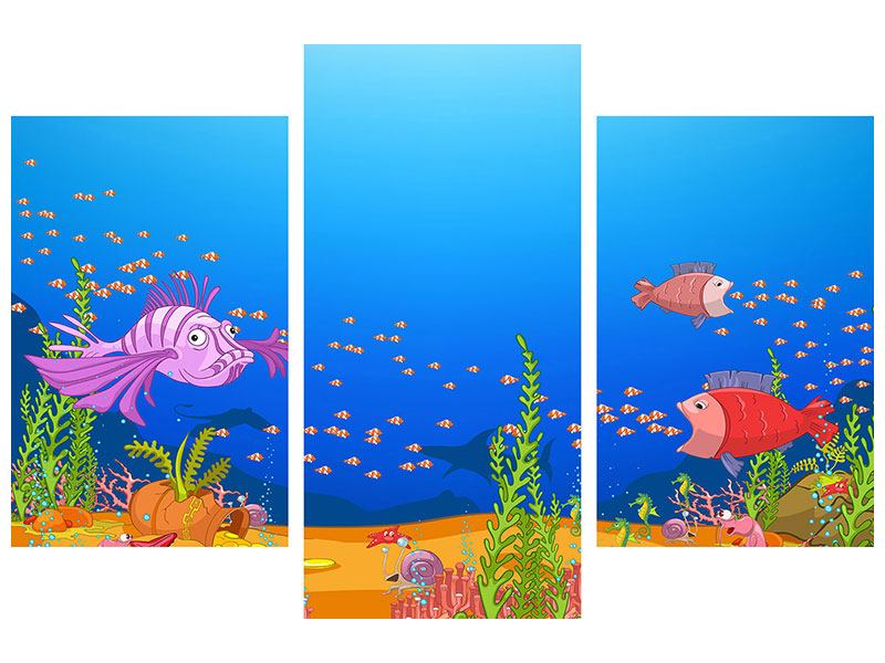 Aluminiumbild 3-teilig modern Der Schatz unter Wasser