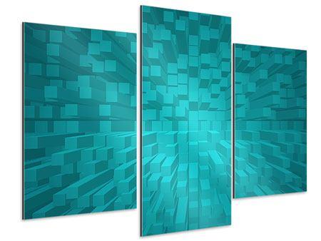 Aluminiumbild 3-teilig modern 3D-Kubusse