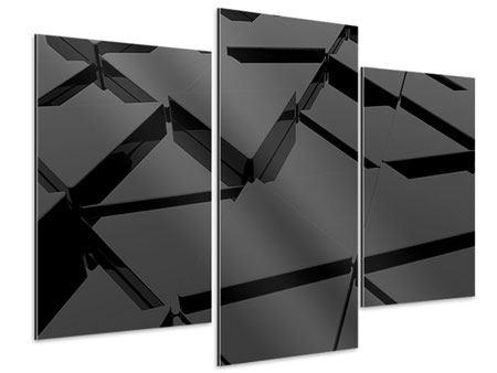 Aluminiumbild 3-teilig modern 3D-Dreiecksflächen