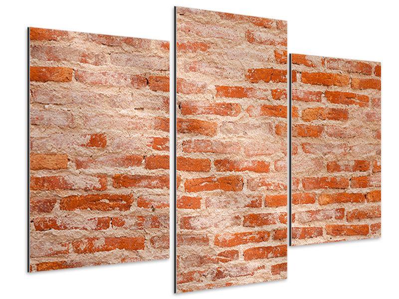 Aluminiumbild 3-teilig modern Mauerwerk