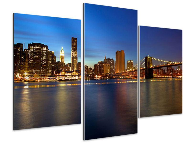 Aluminiumbild 3-teilig modern Skyline Manhattan im Lichtermeer