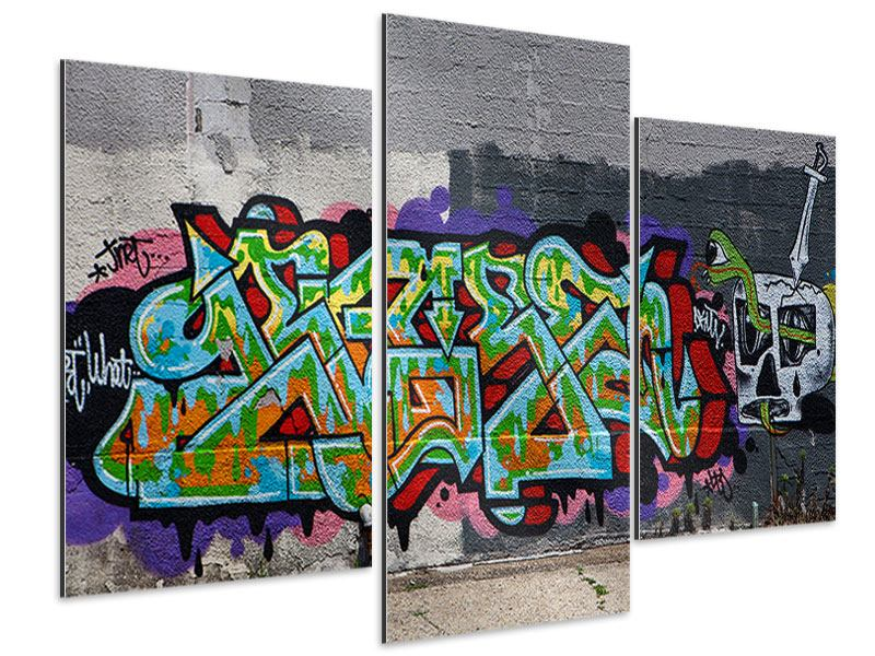 Aluminiumbild 3-teilig modern Graffiti in New York
