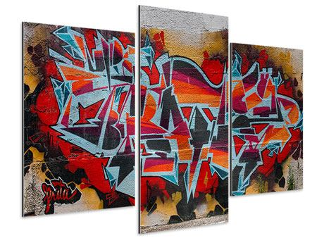Aluminiumbild 3-teilig modern New York Graffiti