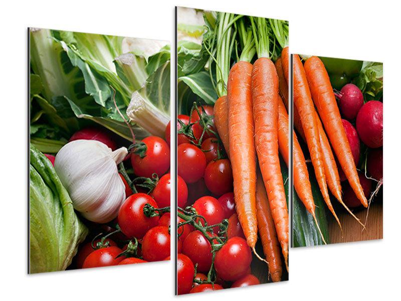 Aluminiumbild 3-teilig modern Gemüse