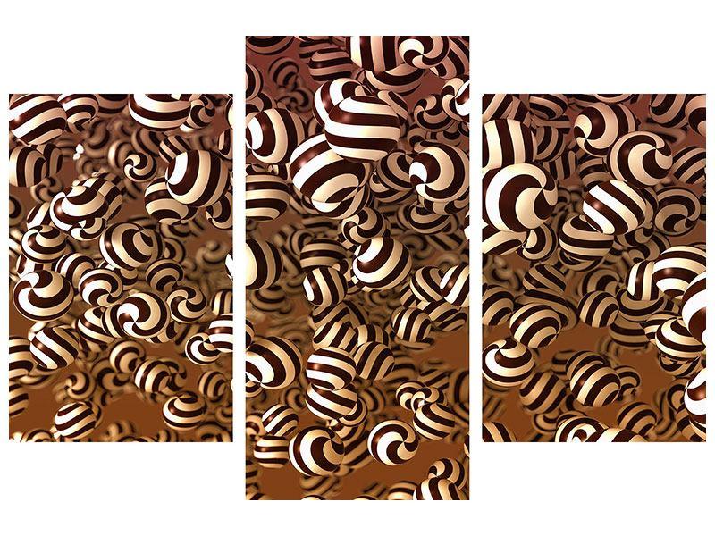 Aluminiumbild 3-teilig modern Schokoladen-Bonbons