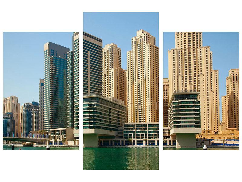 Aluminiumbild 3-teilig modern Spektakuläre Wolkenkratzer Dubai