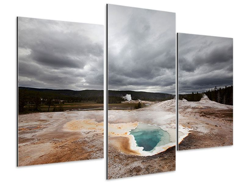 Aluminiumbild 3-teilig modern Vulkan