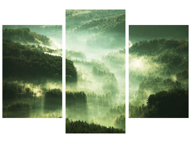 Aluminiumbild 3-teilig modern Über den Wäldern